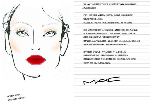 Fashion Week Fall 09 Mac Face Charts 2 14 09 Adam Threeasfour Ruffian Bsb Beauty