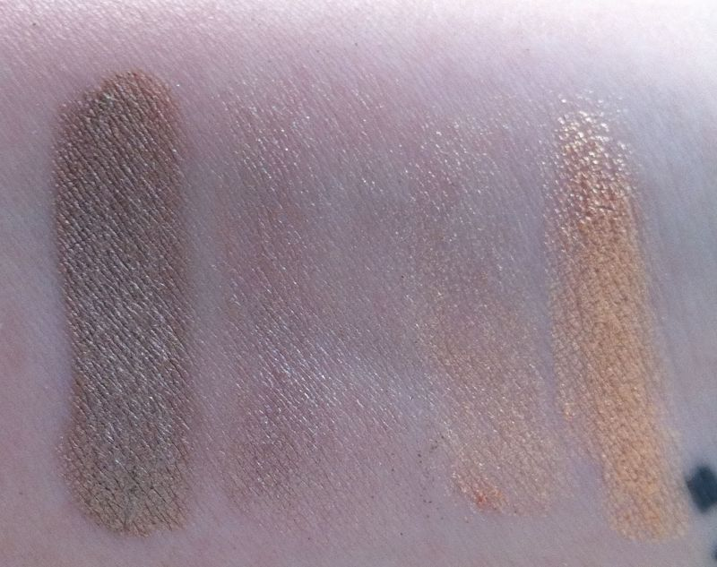 MAC Melon and Subtle pigments swatched