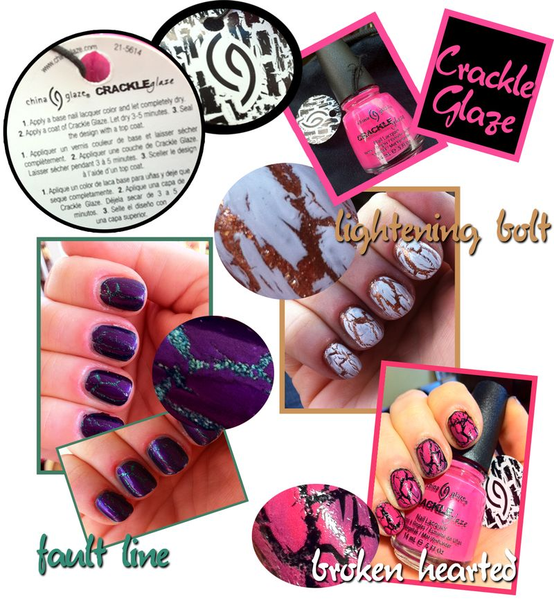 China Glaze Fault Line Lightening Bolt Broken Hearted Crackle Glaze  nail polishes