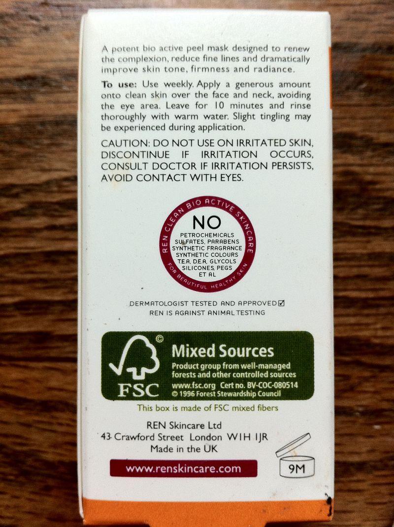 REN Glycolactic Skin Renewal Peel Mask box back